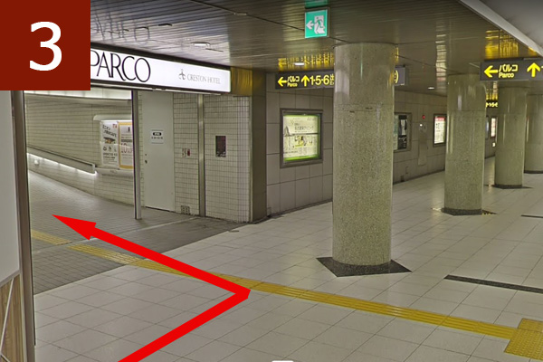 名古屋パルコ東館への連絡通路を左へ曲がる
